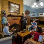 Guests mingling at <nobr>Pen-y-bryn</nobr>